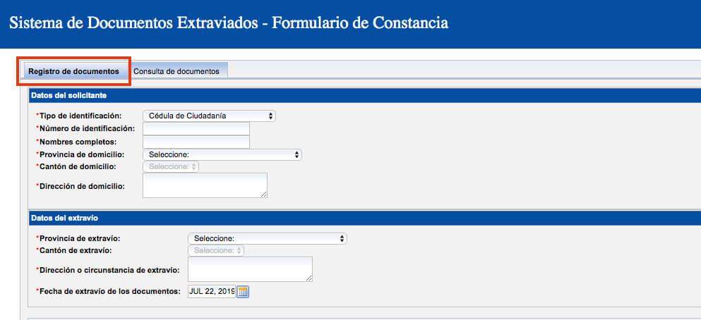 registro documentos perdidos ecuador
